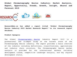 Global Chromatography Resins Industry 2015 Market Research Report