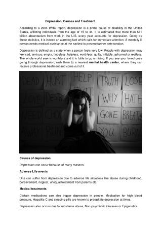 Depression, Causes and Treatment
