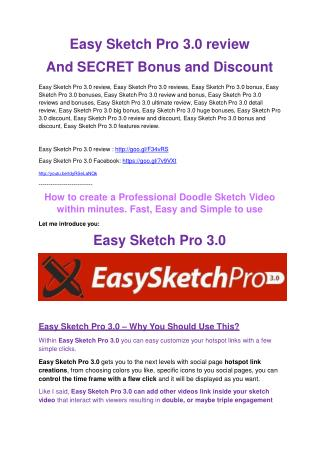Easy Sketch Pro 3.0 review and giant bonus with  100 items