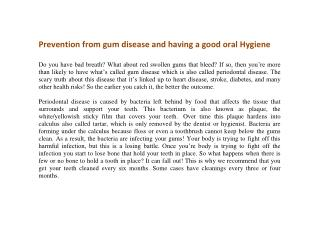 Prevention from gum disease and having a good oral Hygiene