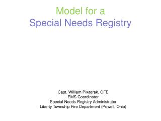 Model for a  Special Needs Registry