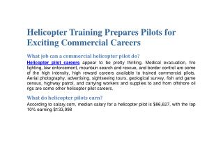 Helicopter Training Prepares Pilots for Exciting Commercial Careers