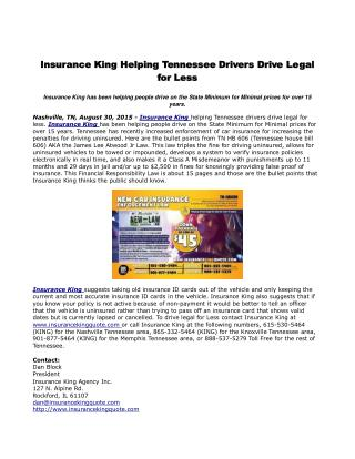 Insurance King Helping Tennessee Drivers Drive Legal for Less
