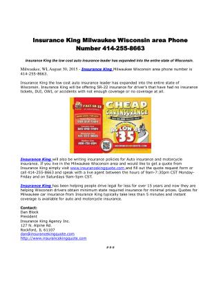 Insurance King Milwaukee Wisconsin area Phone Number 414-255-8663
