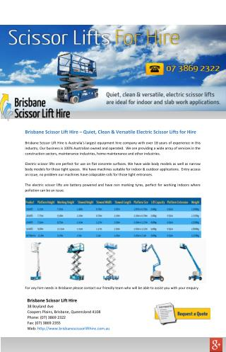 Brisbane Scissor Lift Hire � Quiet, Clean & Versatile Electric Scissor Lifts for Hire