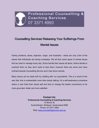 Counselling Services Releasing Your Sufferings From Mental Issues