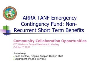 ARRA TANF Emergency Contingency Fund: Non-Recurrent Short Term Benefits
