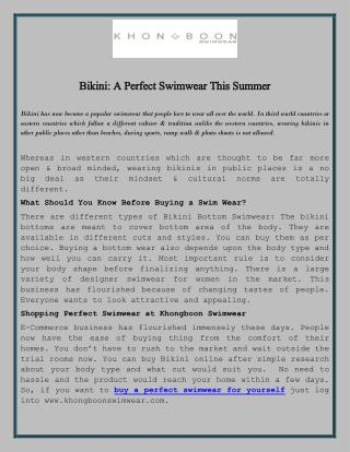 Bikini: A Perfect Swimwear This Summer