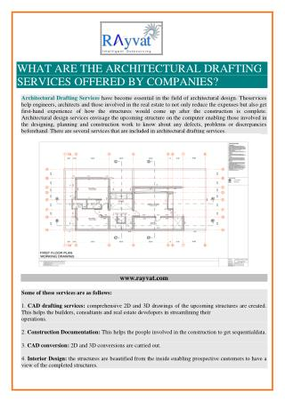 WHAT ARE THE ARCHITECTURAL DRAFTING SERVICES OFFERED BY COMPANIES?