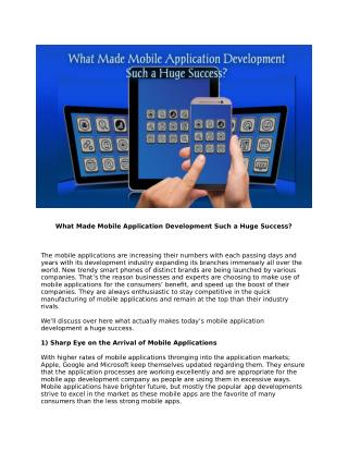 What Made Mobile Application Development Such a Huge Success?