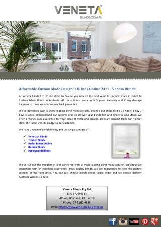 Affordable Custom Made Designer Blinds Online 24/7 - Veneta Blinds