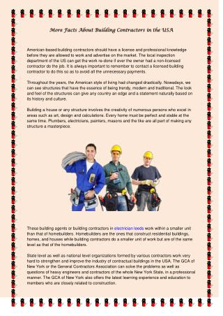 More Facts About Building Contractors in the USA
