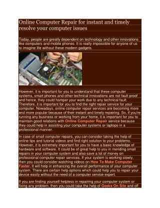 Online Computer Repair for instant and timely resolve your computer issues