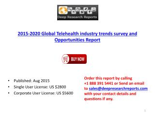 Global Telehealth Industry 2015 Size Statistics Analysis and 2020 Forecast