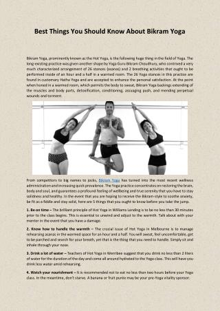 Best Things You Should Know About Bikram Yoga