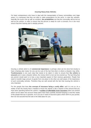 Insuring Heavy Duty Vehicles