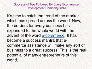 Successful Tips Followed By Every Ecommerce Development Company India - omkarsoft