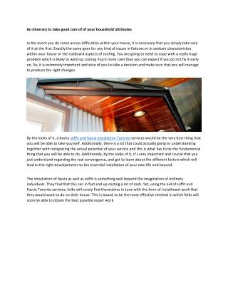 soffit and fascia installation Toronto