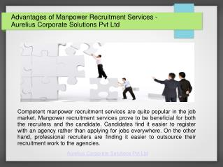 4 Advantages of Manpower Recruitment Services