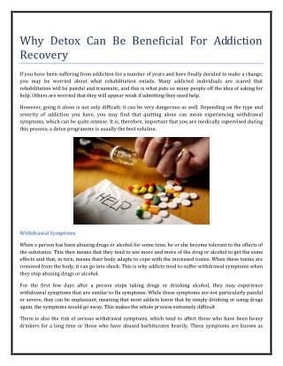 Why Detox Can Be Beneficial For Addiction Recovery