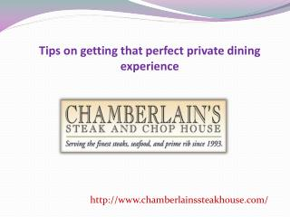 Tips on getting that perfect private dining experience