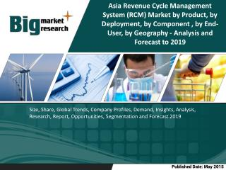 The Asia revenue cycle management system (RCM) market is projected to grow at a CAGR of 7.5% from 2014 to 2019.