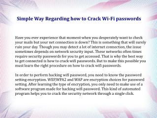 Simple Way Regarding how to Crack Wi-Fi passwords