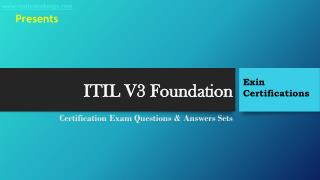 Exin ITIL V3 Foundation Exam Questions & Answers Sets