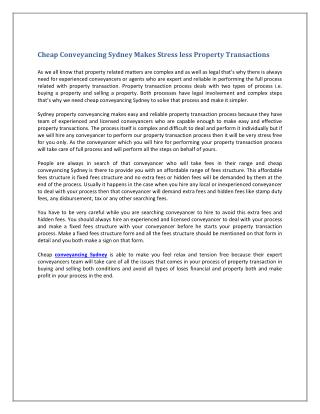 Cheap Conveyancing Sydney Makes Stress less Property Transactions