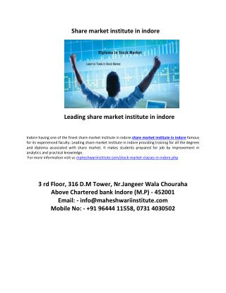 leading share market institute in indore