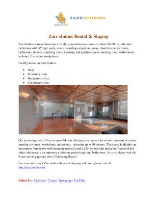 Zarr studios Rental & Staging