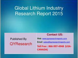 Global Lithium Market 2015 Industry Share, Overview, Forecast, Analysis, Growth, Research and Trends