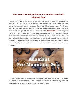 Adamant pro mountain gear