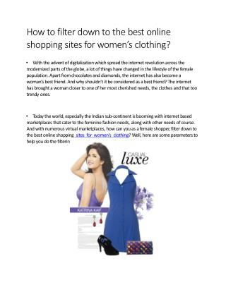 How to filter down to the best online shopping sites for women�s clothing?