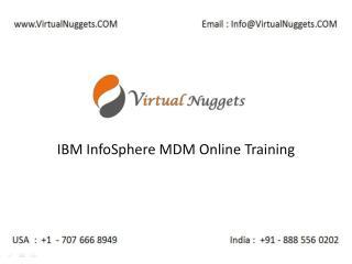 IBM InfoSphere Master Data Management | MDM Online Training at VirtualNuggets