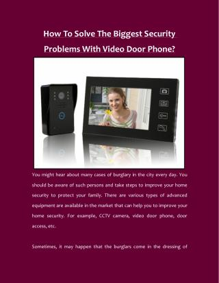 How To Solve The Biggest Security Problems With Video Door Phone?