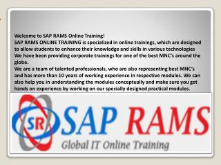 SAP online training - sap rams online training - MSBI online training