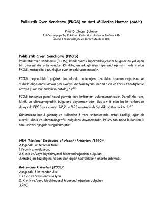 Polikistik Over Sendromu (PKOS) ve AMH
