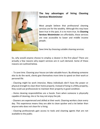 The key advantages of hiring Cleaning Services Westminster