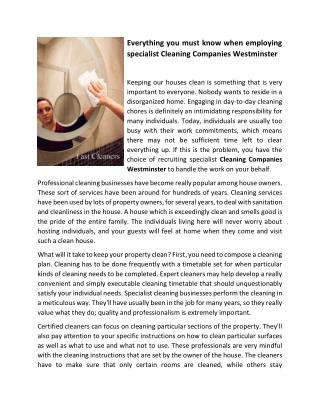 Everything you must know when employing specialist Cleaning Companies Westminster