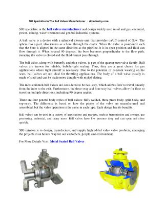 Metal Seated Ball Valves - SIO Industry
