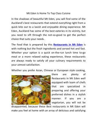 Mt Eden Is Home To Top Class Cuisine