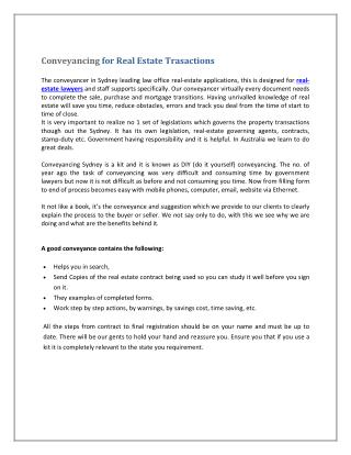 Conveyancing For Real Estate Trasactions