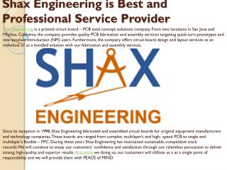 Shax Engineering is Best and Professional Service Provider