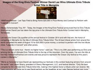 Images of the King Elvis Festival Winner David Lee Wins Ultimate Elvis Tribute Artist Title in Memphis