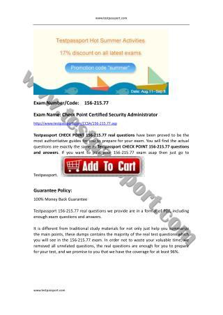 Testpassport 156-215.77 exam dumps Check Point CCSA