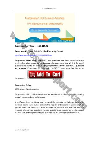 Testpassport 156-315.77 exam dumps Check Point CCSE