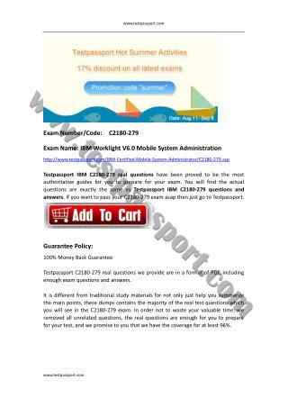 Testpassport C2180-279 exam dumps Mobile-System-Administrator