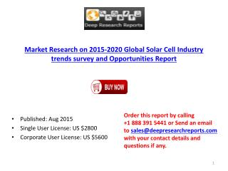 Global Solar Cell Industry 2015-2021 Development Trend Analysis Report
