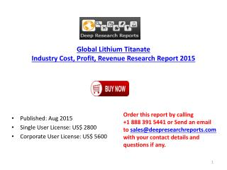 2015 Global Lithium Titanate Industry Regional Growth Analysis Report